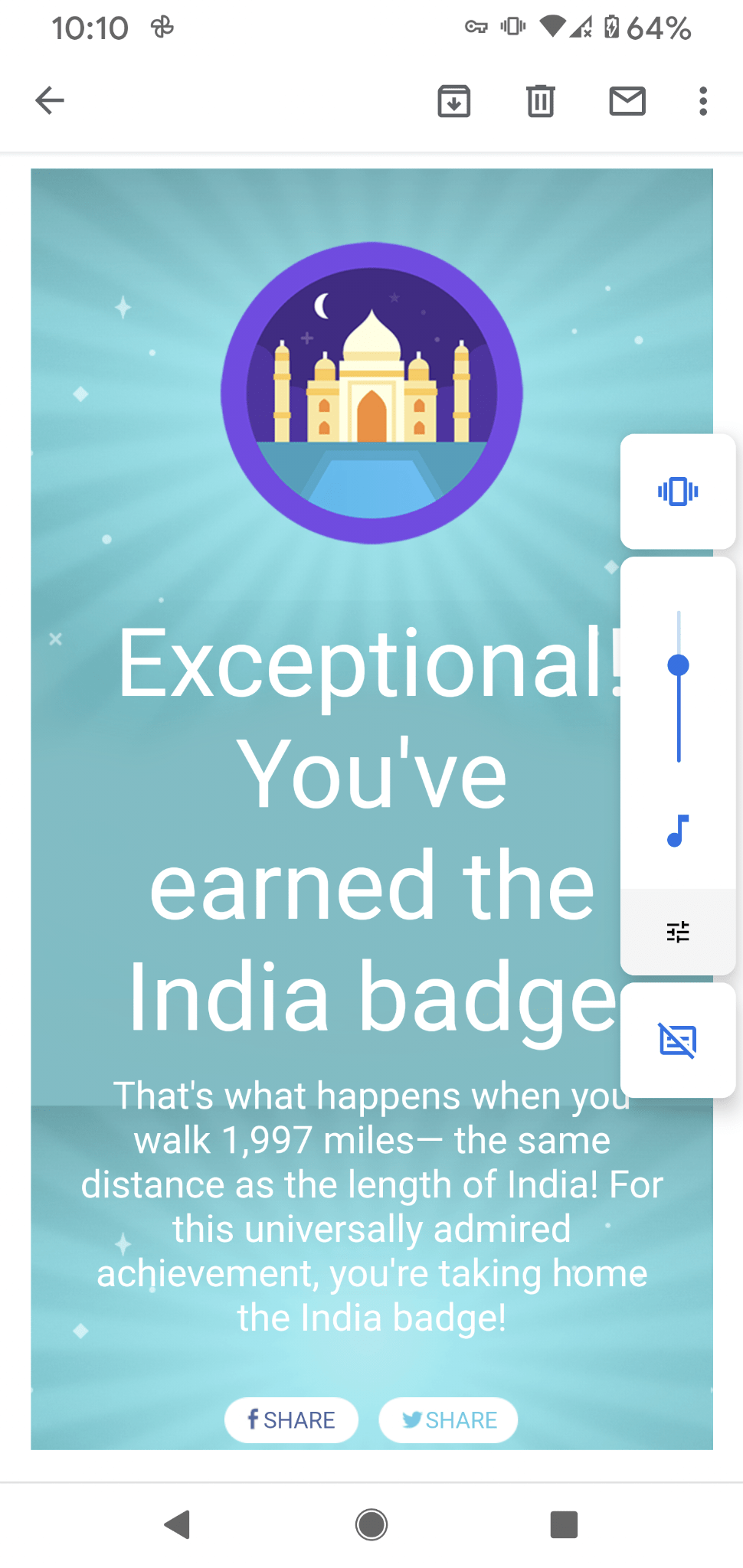 I received this message from Fitbit that I've earned my India walking badge.